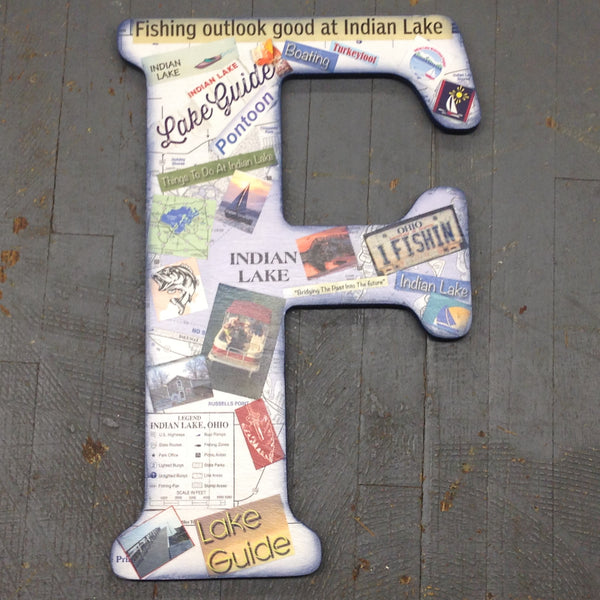 Indian Lake Memorabilia Dimensional Wood Decoupage Monogram Alphabet Letter F
