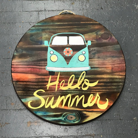 Hello Summer VW Bus Round Indoor/Outdoor Wall Sign Door Wreath