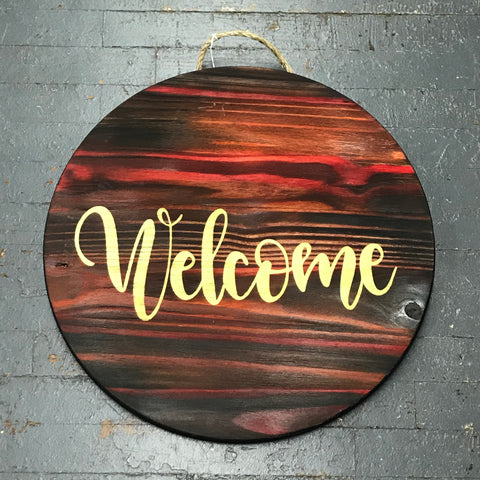 Welcome Red Tones Round Indoor/Outdoor Wall Sign Door Wreath