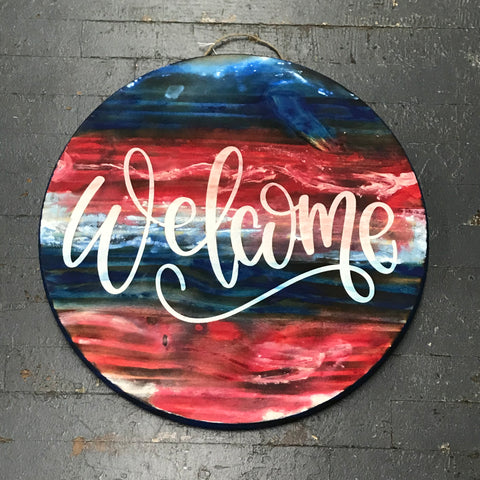 Welcome Red White Blue Patriotic Round Indoor/Outdoor Wall Sign Door Wreath
