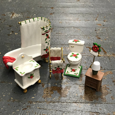 Poinsettia Miniature Doll House Bathroom Doll Furniture