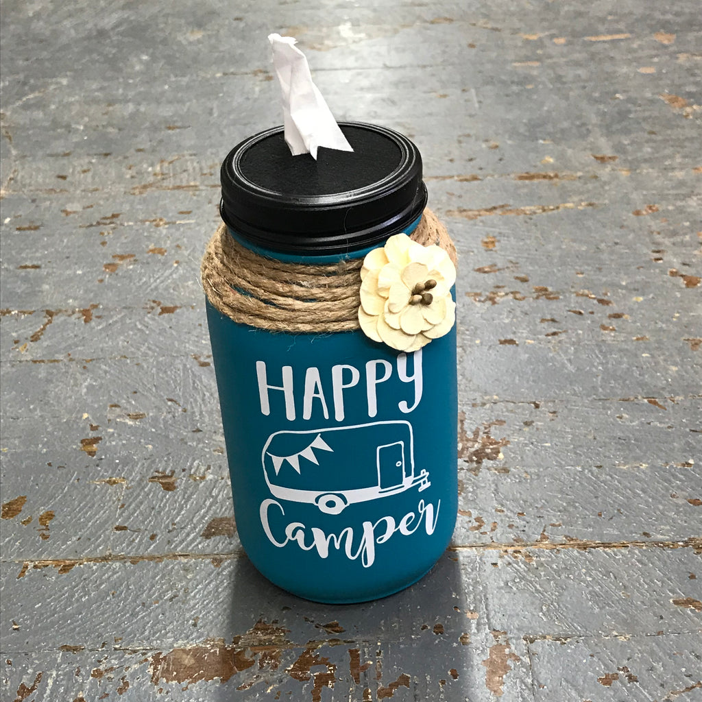 Mason Jar Tissue Holder Happy Camper Turquoise Peacock