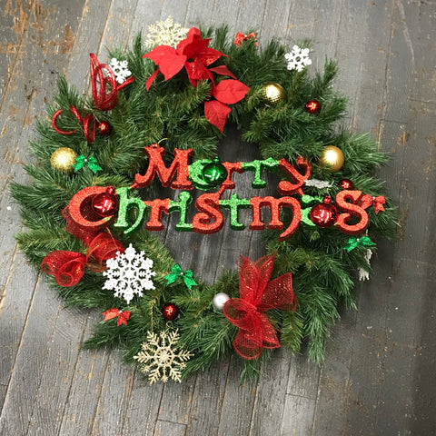 Merry Christmas Holiday Wreath Door Hanger