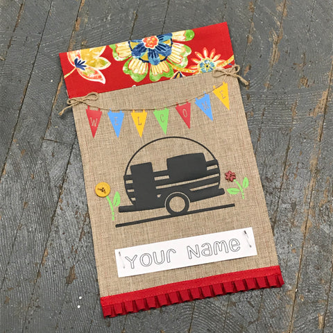 Personalized Name Camper Garden Flag Welcome Pennant Bright Colors