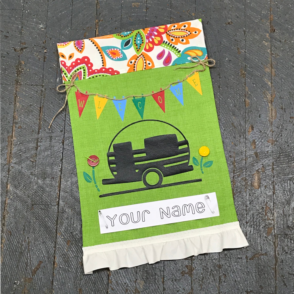 Personalized Name Camper Garden Flag Welcome Pennant Green Colors