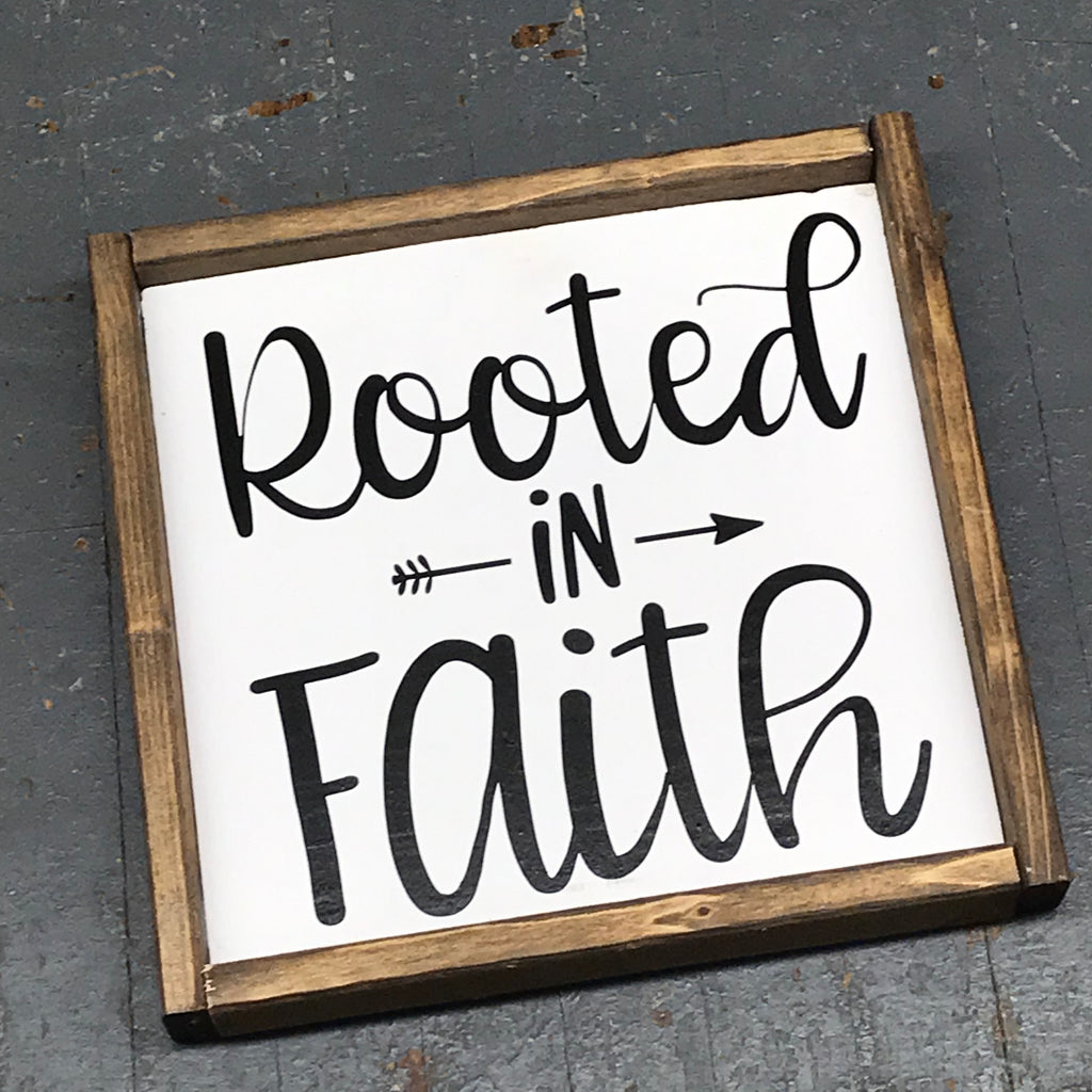 Hand Painted Vinyl Wooden Sign Rooted in Faith