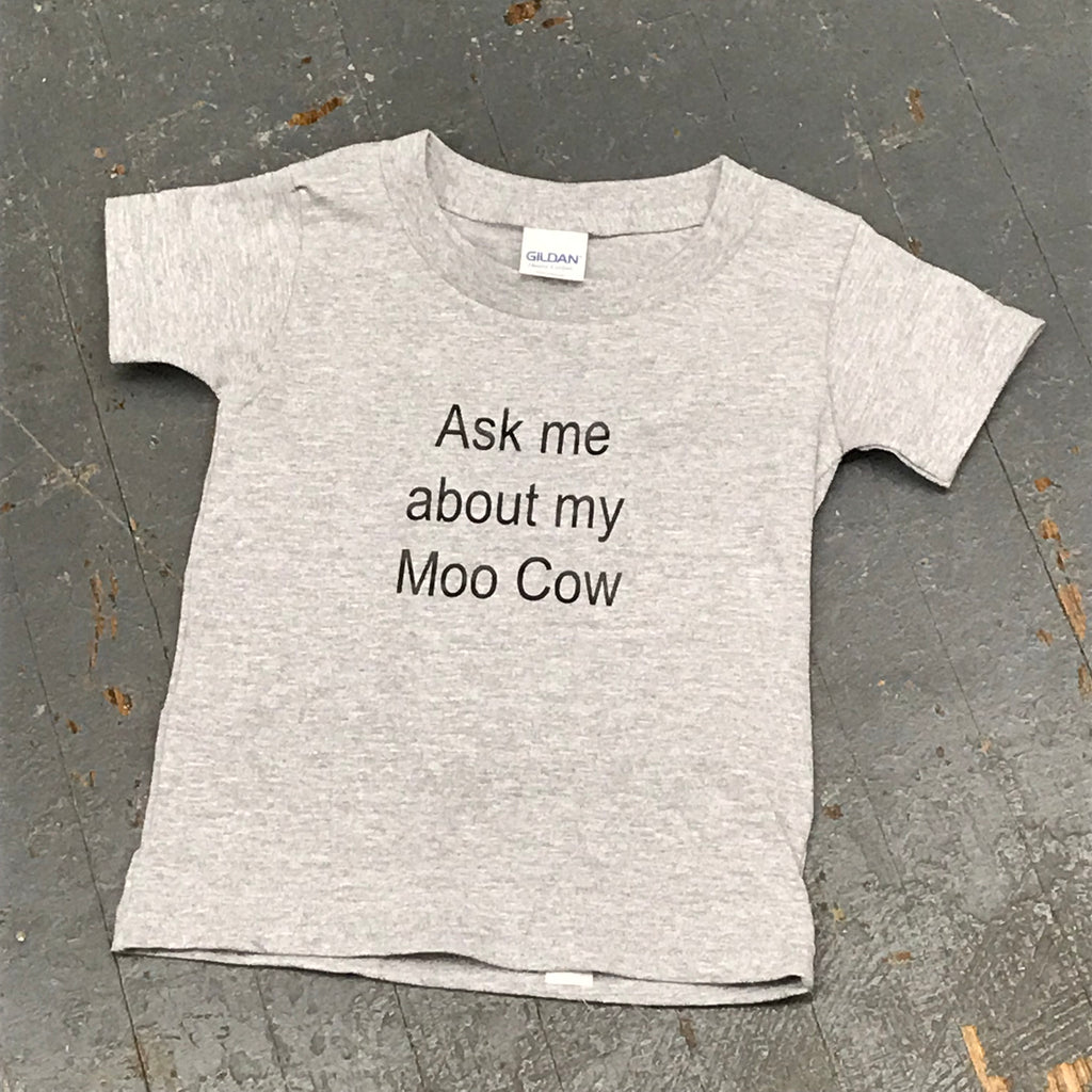 Ask Me About My Moo Cow Personalized Summer Newborn Infant Toddler TShirt Tee Shirt