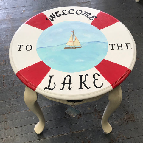 Welcome to the Lake Life Ring Saver Nautical Wood Round Top Side End Table