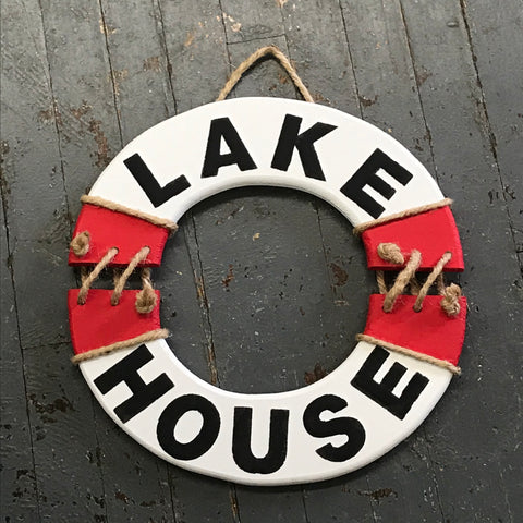 Lake House Nautical Wood Painted Ring Buoy Decoration