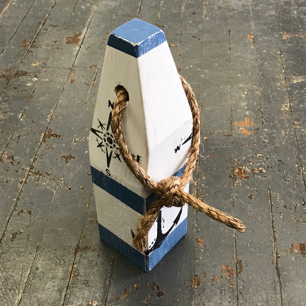 Blue Indian Lake Nautical Boat Buoy Wood Pylon Painted Decoration