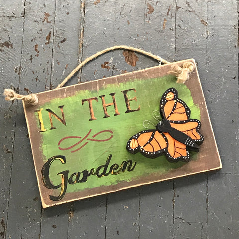 In the Garden Hand Painted Wooden Orange Butterfly Sign
