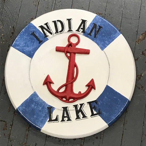 Indian Lake Anchor Nautical Wood Painted Ring Buoy Decoration