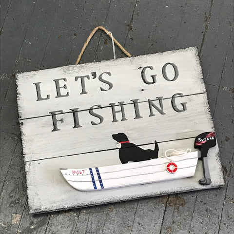 Hand Painted Wooden Nautical Boat Sign Black Lab Let's Go Fishing
