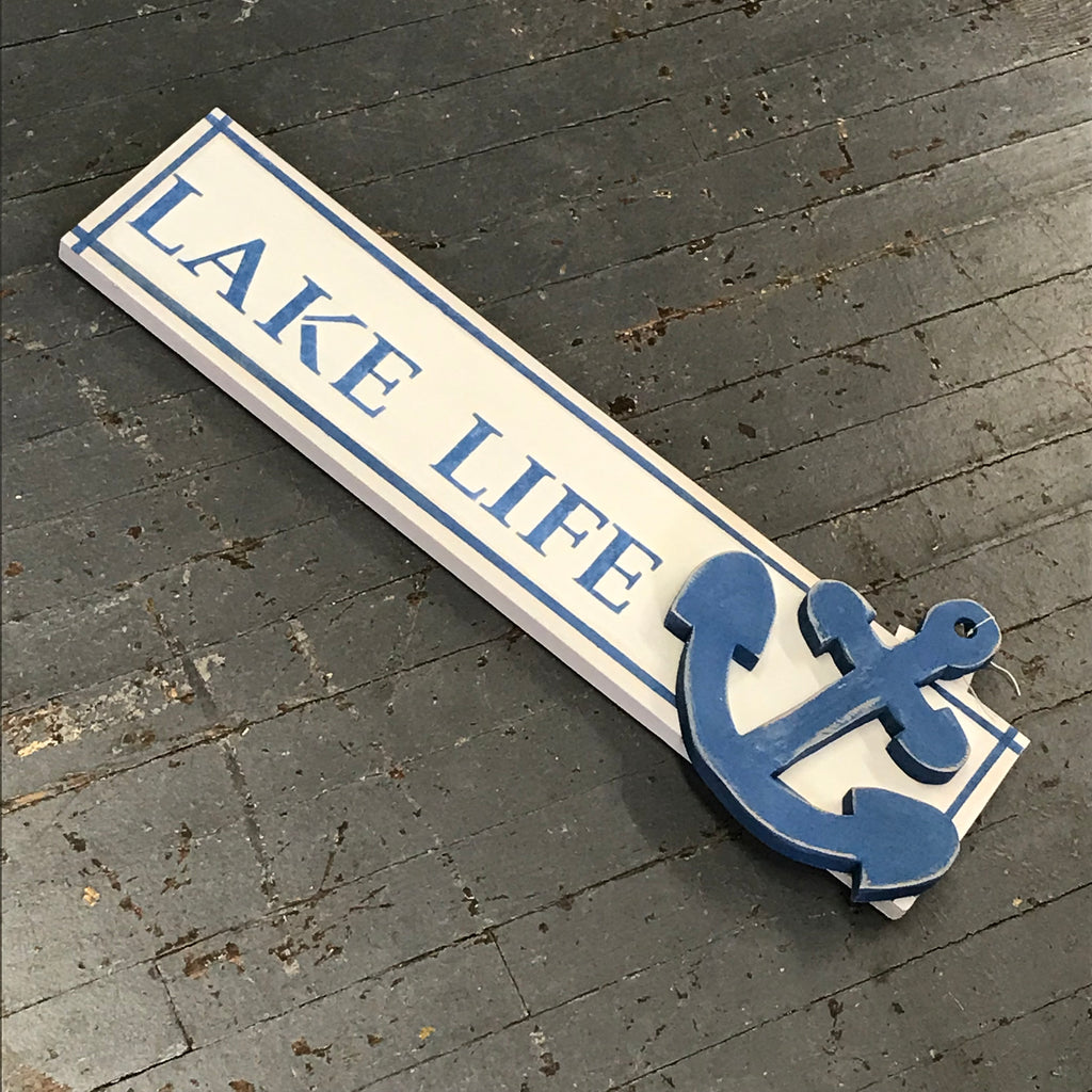 Lake Life Nautical Hand Painted Wooden Anchor Sign