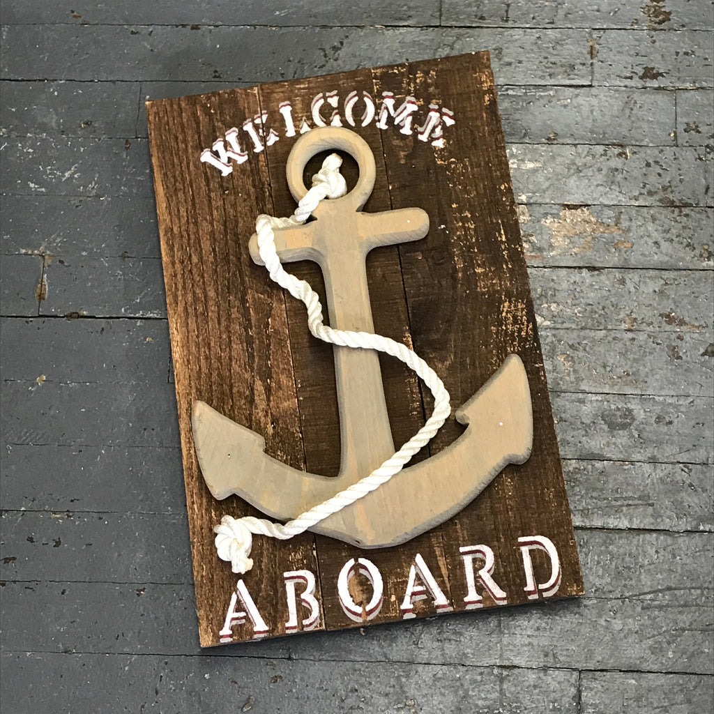"Hand Painted Wooden Nautical Sign ""Welcome Aboard"""