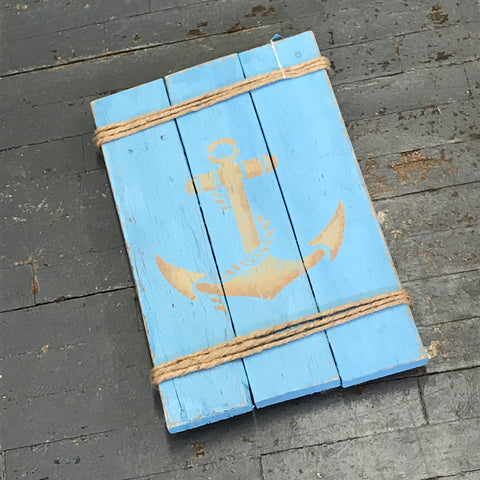Hand Painted Wooden Nautical Anchor Sign