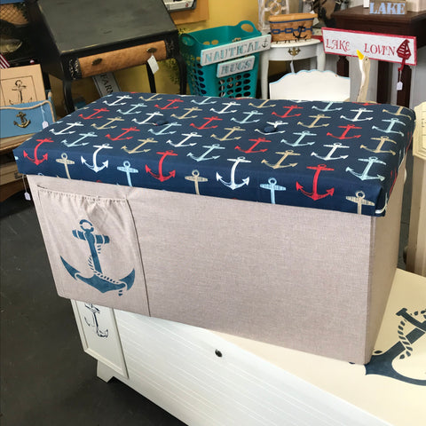 Nautical Cloth Covered Anchor Foot Stool Storage Bench
