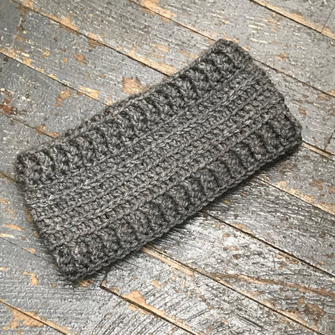 Crocheted Headband Winter Earmuff Grey Wide Band