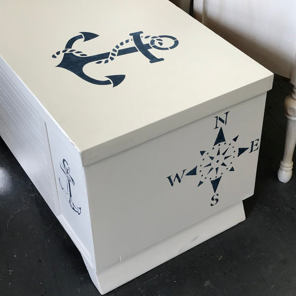 Nautical Anchor Painted Cedar Chest Coffee Table Storage Bench