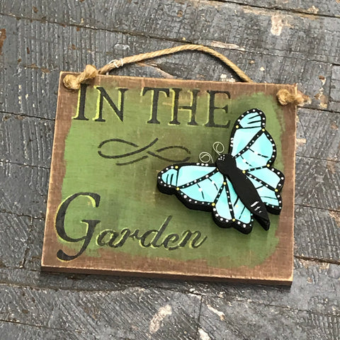 In the Garden Hand Painted Wooden Teal Butterfly Sign