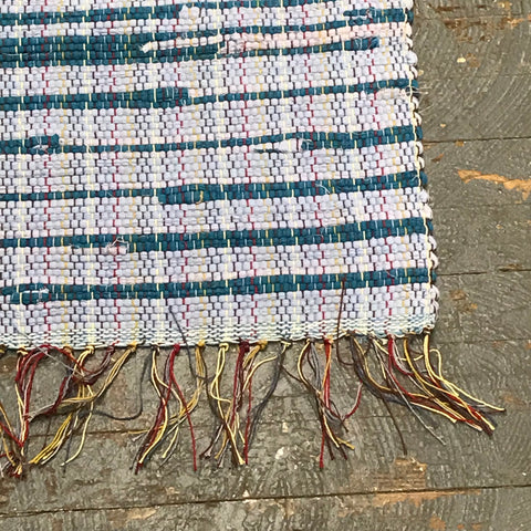 #105 Blue Center Piece Rag Weaved Table Runner Rug by Morgan