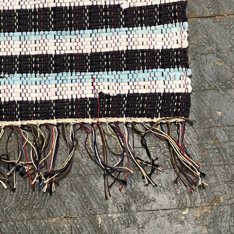 #62 Beautiful Blues Rag Weaved Table Runner Rug by Morgan