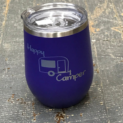 Happy Camper Stainless Steel 12oz Stemless Wine Beverage Drink Travel Tumbler Purple