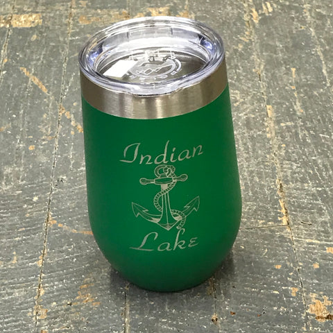 Indian Lake Nautical Anchor Stainless Steel 16oz Stemless Wine Beverage Drink Travel Tumbler Green