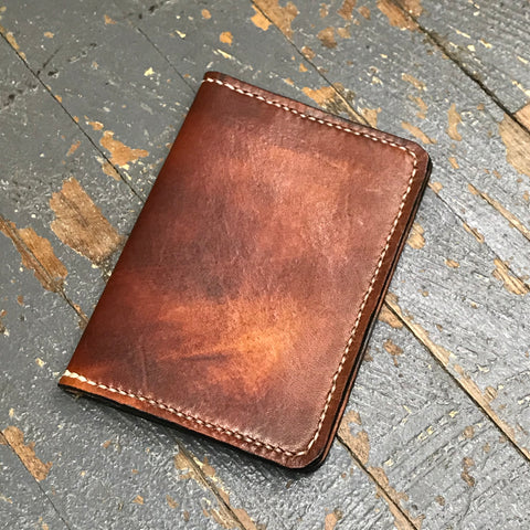 Brown Leather Wallet Passport Money Holder Handmade
