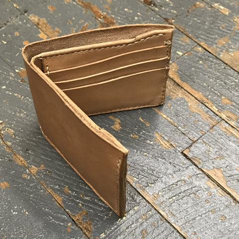 Tan Leather Pocket Wallet Credit Card Money Holder Handmade
