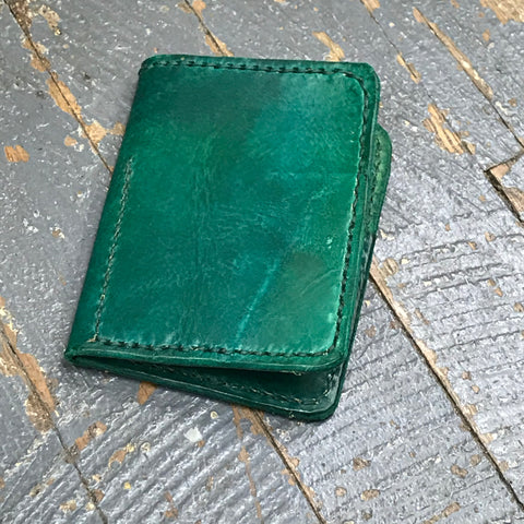 Green Leather Wallet Credit Card Money Holder Handmade