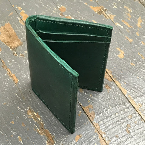 Green Leather Pocket Wallet Credit Card Money Holder Handmade