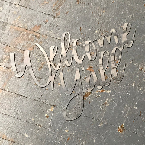 Welcome Yall Word Metal Sign Wall Hanger
