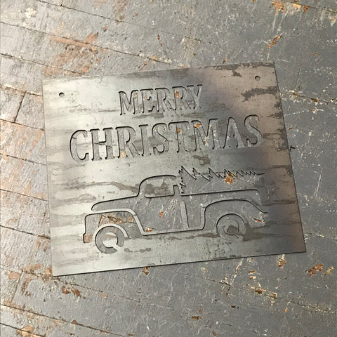 Merry Christmas Vintage Pick Up Truck Metal Sign Wall Hanger