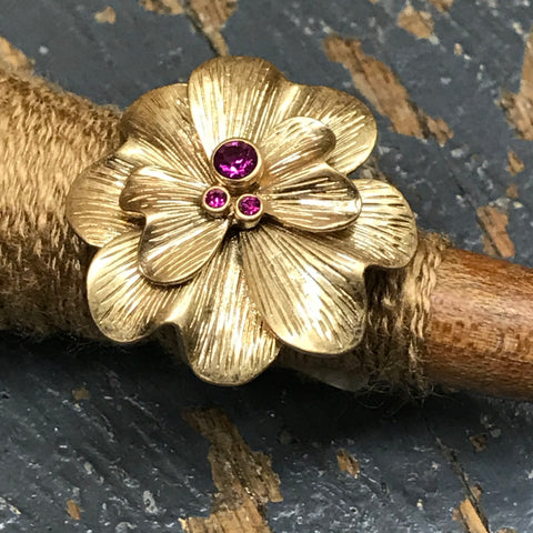 Lia Sophia Jewelry Ring Matte Gold Large Flower Pink Crystal Size 8