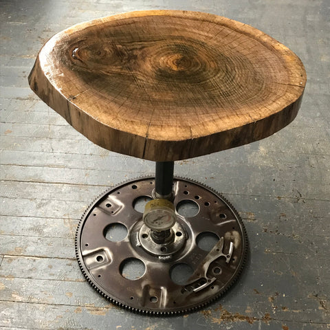 Upcycled Wooden Log Stool Table Welded Gear Gauge Art Sculpture