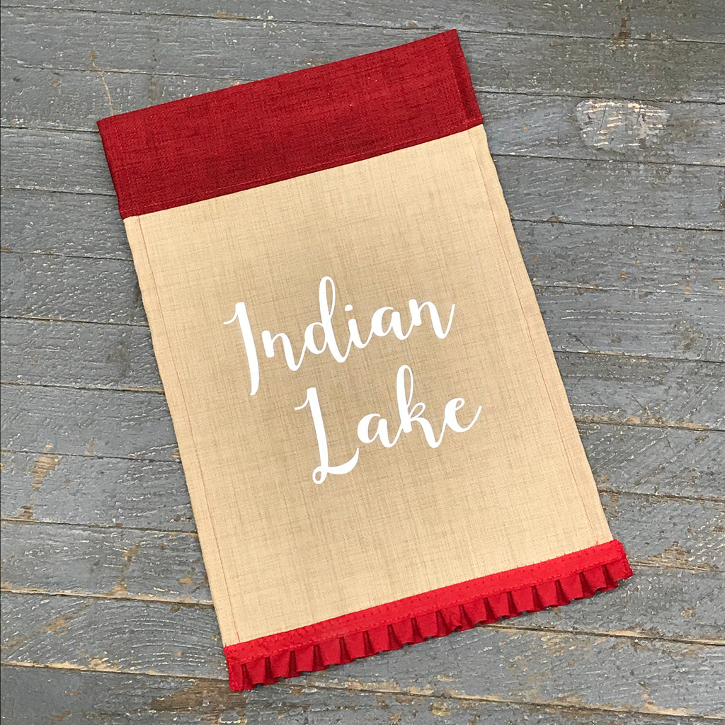 Indian Lake Burlap Garden Flag Accented Red