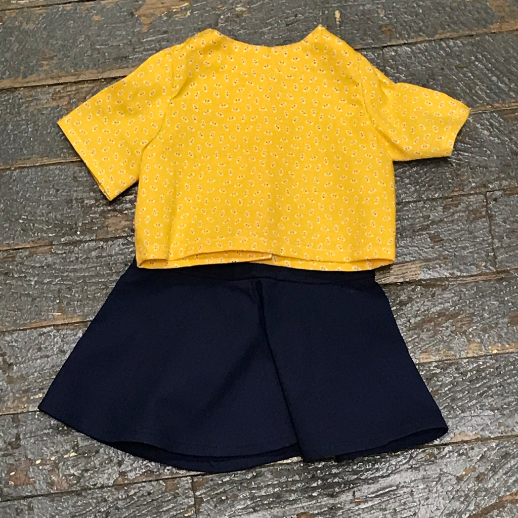 "18"" Doll Clothes Outfit Yellow Bee Blouse Shirt Top and Navy Skirt"