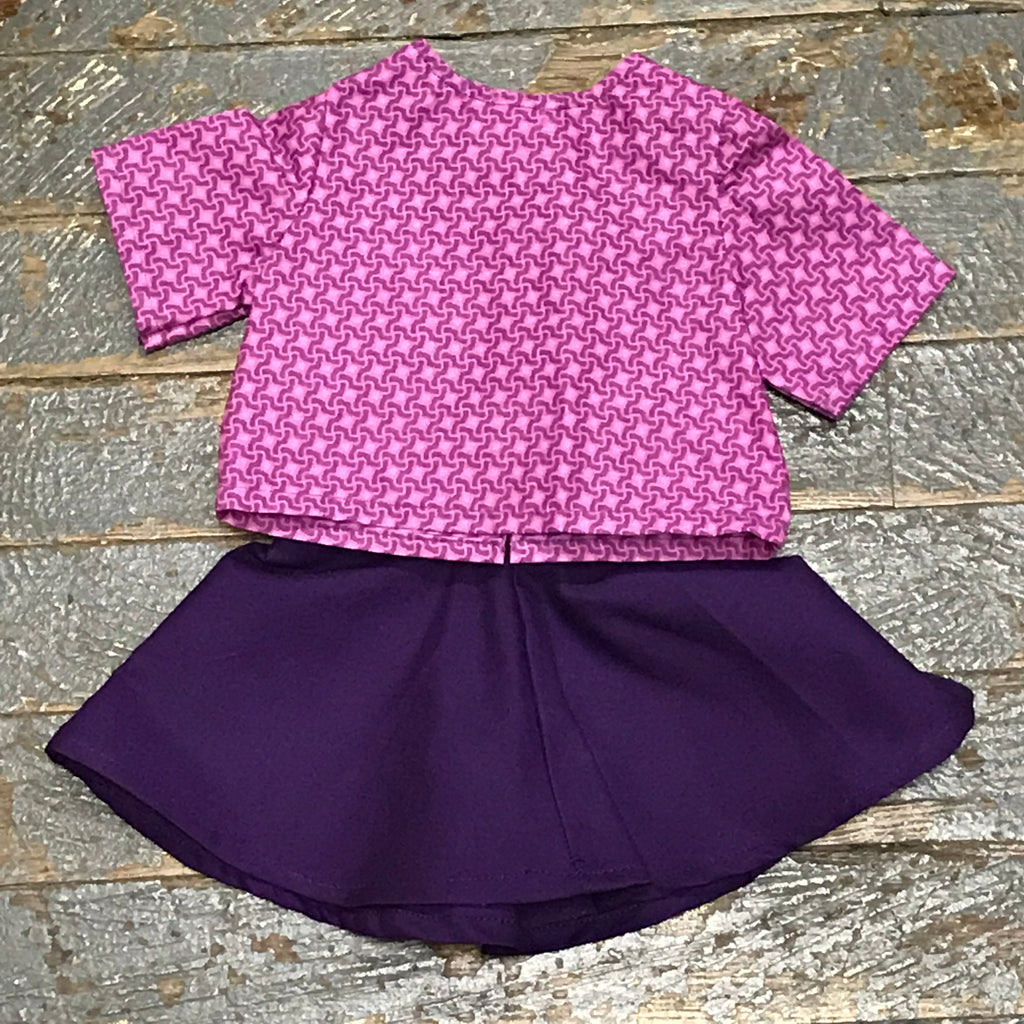 "18"" Doll Clothes Outfit Purple Design Blouse Shirt Top and Purple Plum Skirt"