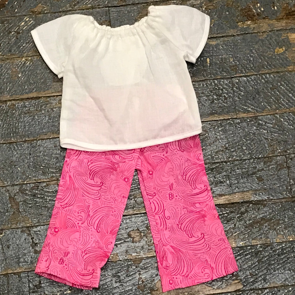 "18"" Doll Clothes Outfit White Blouse Shirt Top and Pink Swirl Pants"