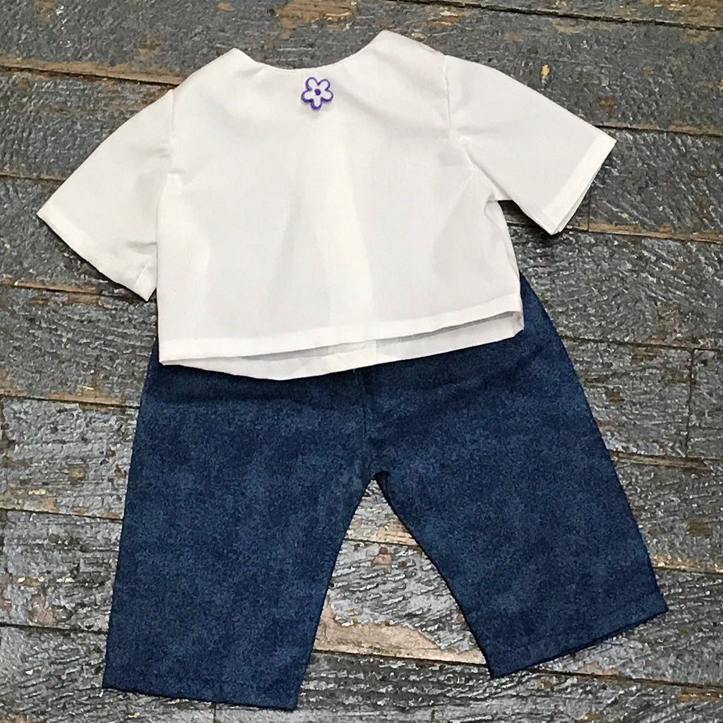 "18"" Doll Clothes Outfit White Blouse Shirt Top and Blue Denim Pants"