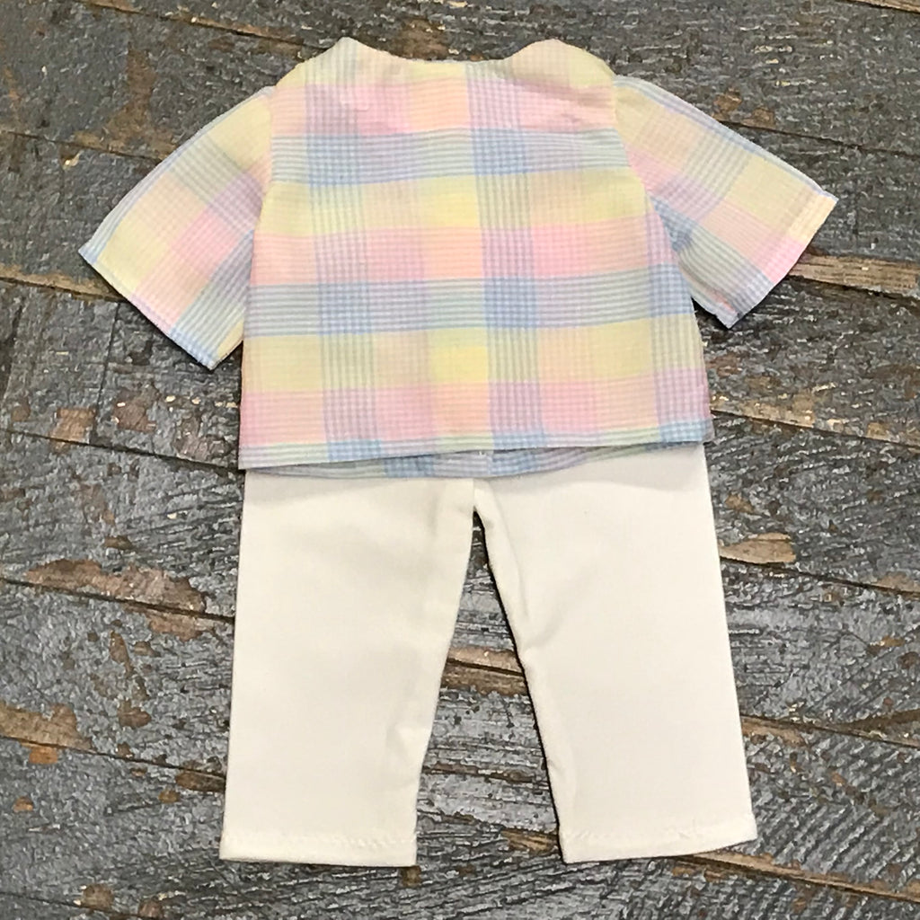 "18"" Doll Clothes Outfit Pastel Plaid Shirt Top and White Spandex Pants"