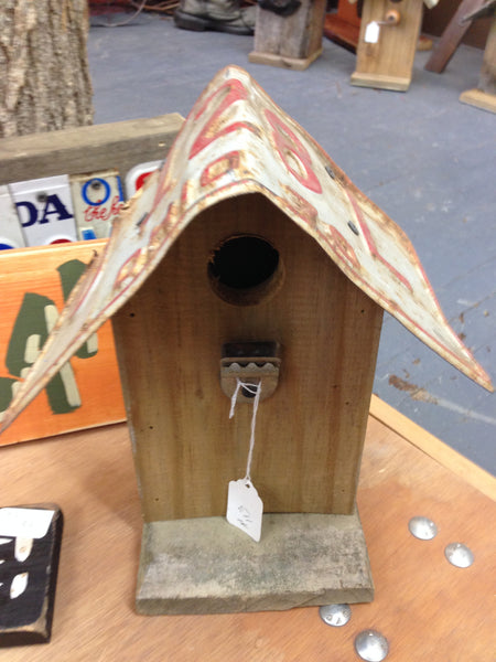 Hand Crafted Barn Wood & License Plate Birdhouse