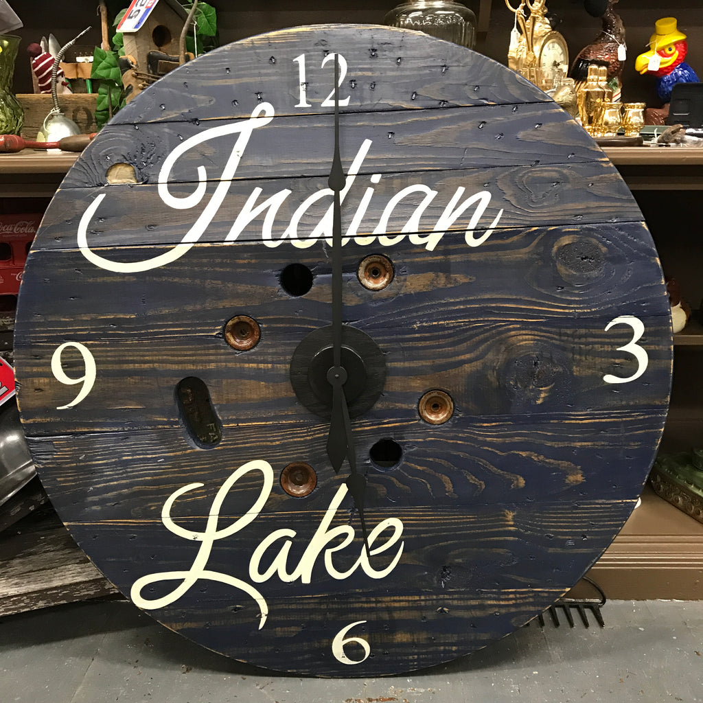 "40"" Round Nautical Wooden Indian Lake Clock Painted"