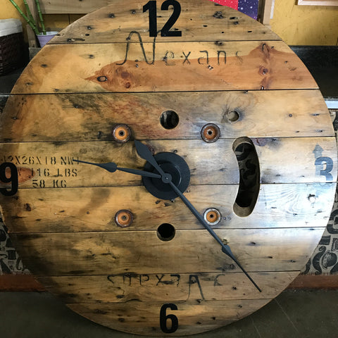 "40"" Round Wooden Natural Spool Clock"