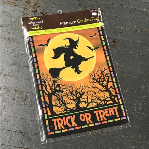 Witch Trick or Treat Flying Moon Halloween Garden Flag