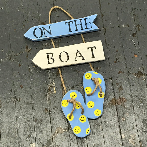 On the Boat Nautical Wood Painted Smiley Face Flip Flop Decoration