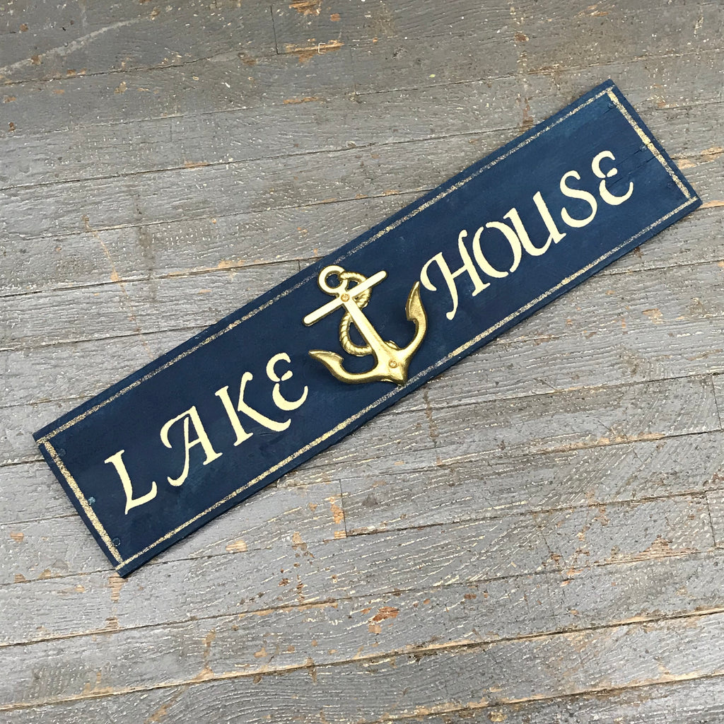 Lake House Rustic Wooden Nautical Anchor Wall Sign