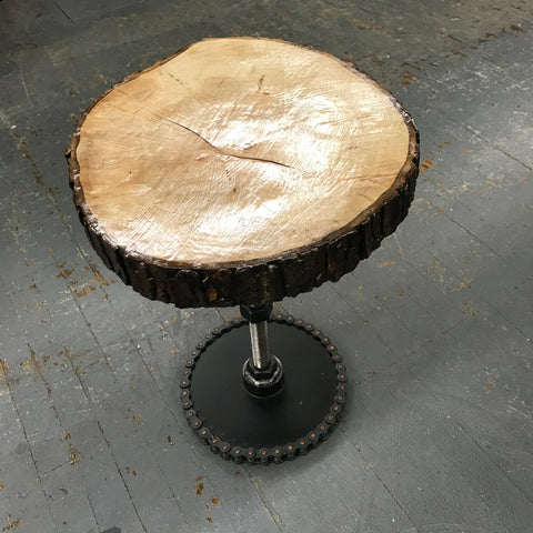 Upcycled Wooden Log Stool Table Welded Gear Screw Bolt Art Sculpture