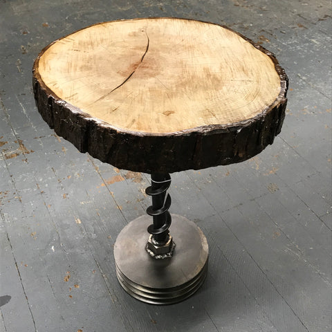 Upcycled Wooden Log Stool Table Welded Gear Screw Art Sculpture